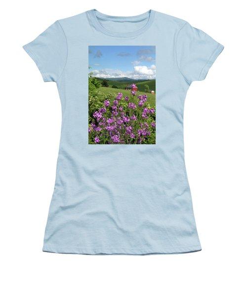 Landscape With Purple Flowers Women's T-Shirt (Junior Cut) by Emanuel Tanjala