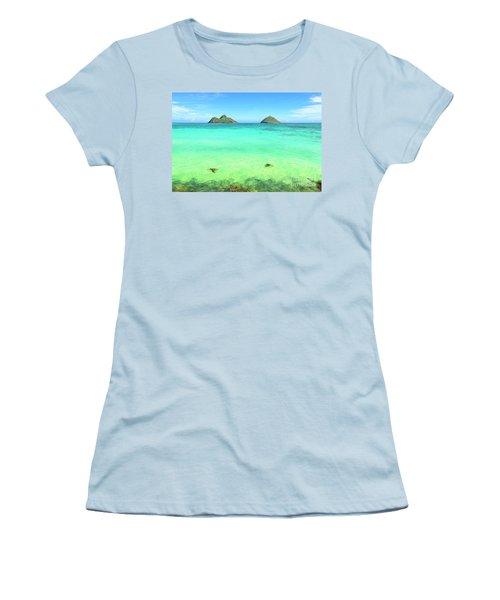 Lanikai Beach Two Sea Turtles And Two Mokes Women's T-Shirt (Athletic Fit)