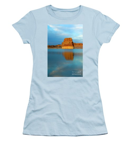 Women's T-Shirt (Junior Cut) featuring the photograph Last Light At Lone Rock by Mike Dawson