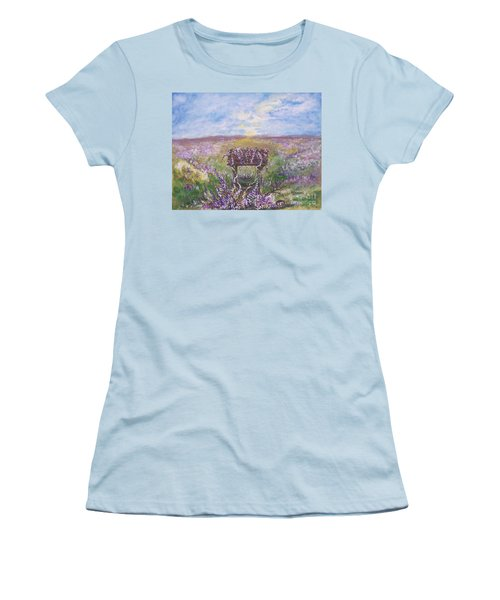 Women's T-Shirt (Junior Cut) featuring the painting Lavendar Wishes by Leslie Allen