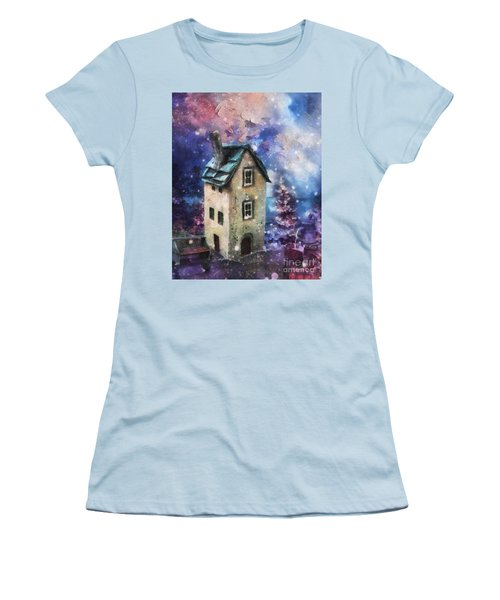 Women's T-Shirt (Junior Cut) featuring the painting Lavender Hill by Mo T