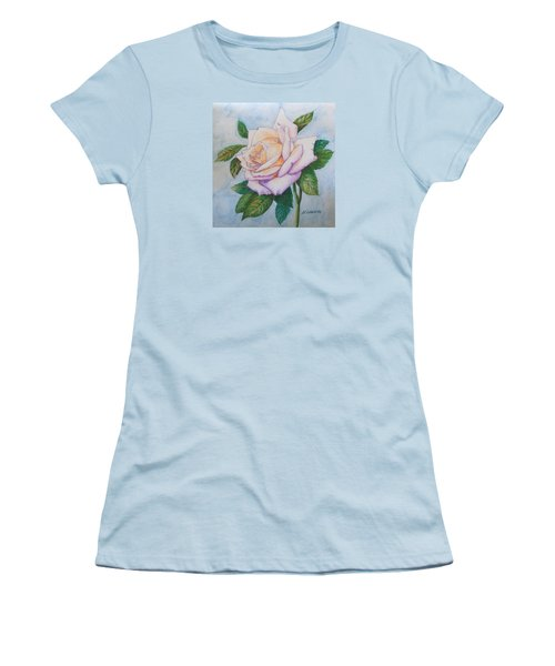Women's T-Shirt (Junior Cut) featuring the drawing Lavender Rose by Marna Edwards Flavell