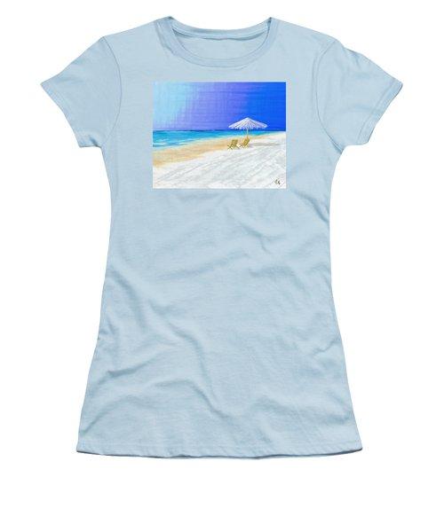 Lawn Chairs In Paradise Women's T-Shirt (Junior Cut) by Jeremy Aiyadurai
