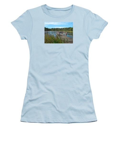 Leaning Pier At Pine Lake Women's T-Shirt (Athletic Fit)