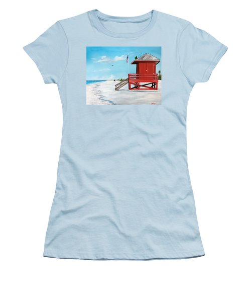 Let's Meet At The Red Lifeguard Shack Women's T-Shirt (Athletic Fit)