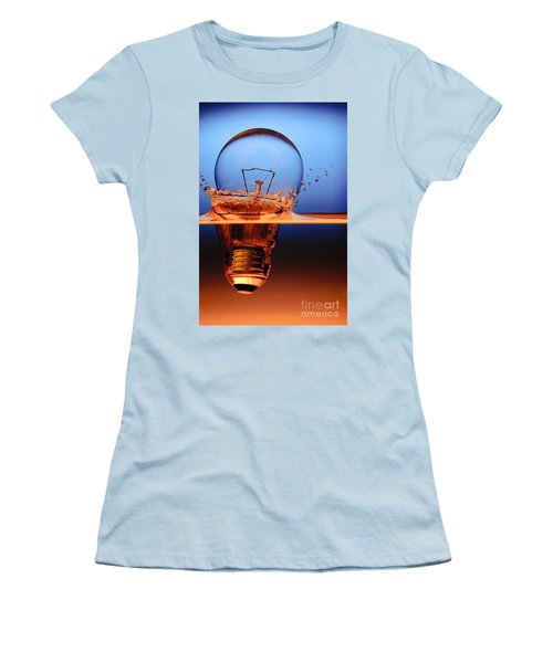 Women's T-Shirt (Junior Cut) featuring the photograph Light Bulb And Splash Water by Setsiri Silapasuwanchai
