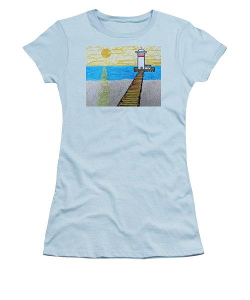 Lighthouse And Yellow Sun Women's T-Shirt (Junior Cut)