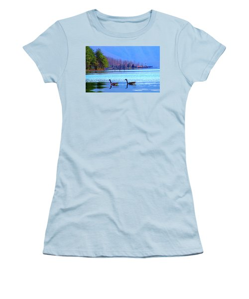Lighthouse Geese, Smith Mountain Lake Women's T-Shirt (Athletic Fit)