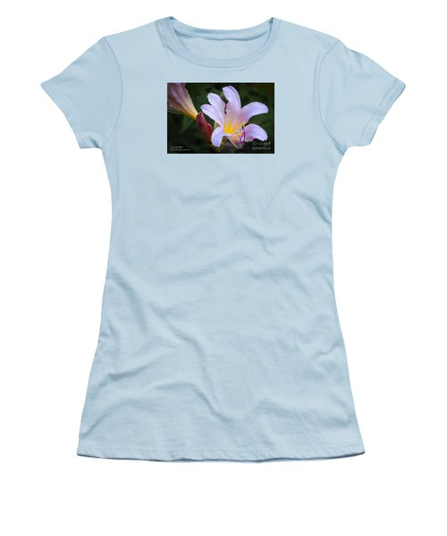 Women's T-Shirt (Athletic Fit) featuring the photograph Lily In The Rain By Flower Photographer David Perry Lawrence by David Perry Lawrence