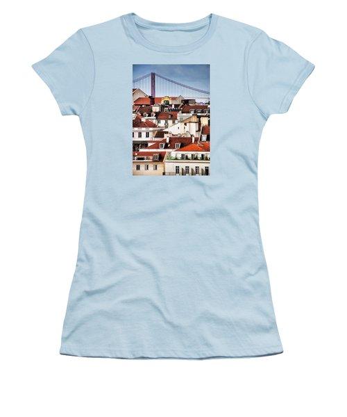 Women's T-Shirt (Junior Cut) featuring the photograph Lisbon Rooftops by Dennis Cox WorldViews