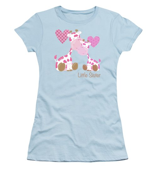 Little Sister Cute Baby Giraffes And Hearts Women's T-Shirt (Junior Cut)