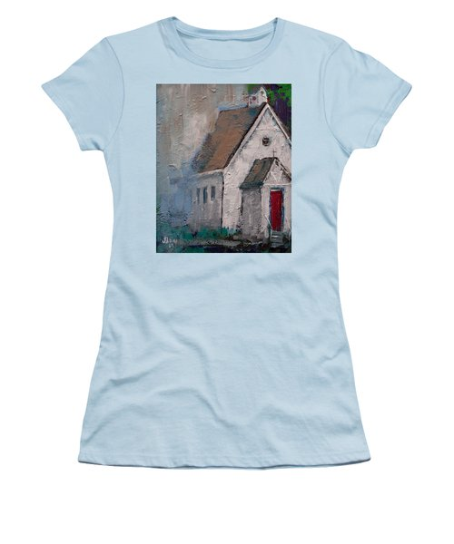 Little White Church On The Corner Christian Painting  Women's T-Shirt (Athletic Fit)
