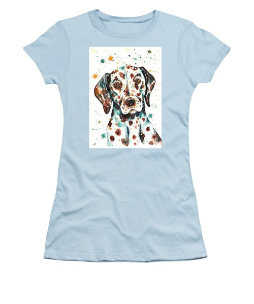 Women's T-Shirt (Athletic Fit) featuring the painting Liver-spotted Dalmatian by Zaira Dzhaubaeva