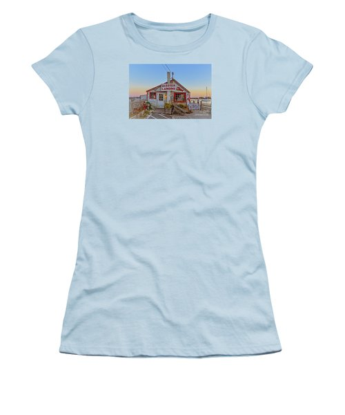 Women's T-Shirt (Athletic Fit) featuring the photograph Lobster Landing Sunset by Edward Fielding
