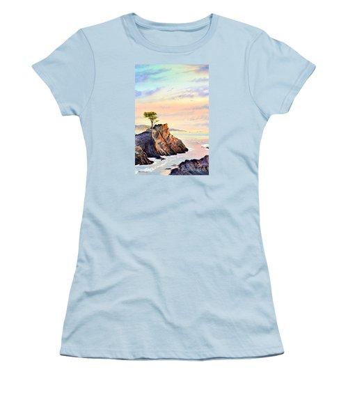 Lone Cypress Tree Pebble Beach Women's T-Shirt (Junior Cut) by Bill Holkham