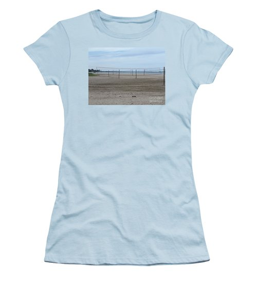Lonely Beach Volleyball Women's T-Shirt (Junior Cut) by Erick Schmidt