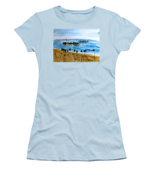 Long Beach Oil Islands Before Sunset Women's T-Shirt (Athletic Fit)