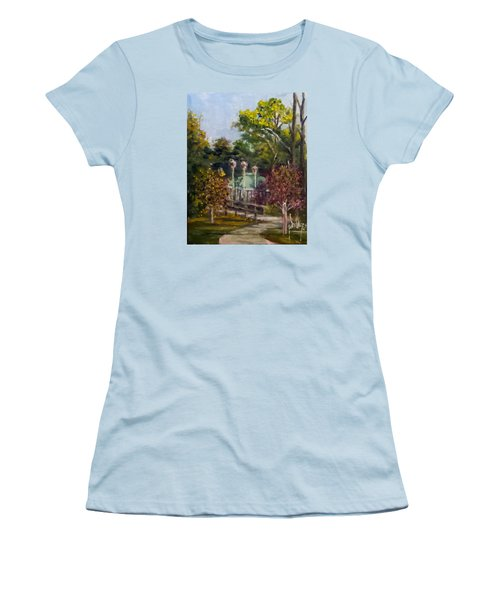 Women's T-Shirt (Junior Cut) featuring the painting Looking Back At The Vietnam Memorial by Jim Phillips