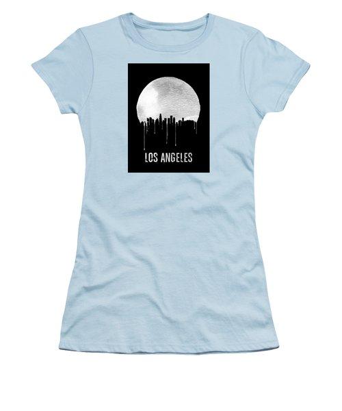 Los Angeles Skyline Black Women's T-Shirt (Junior Cut) by Naxart Studio