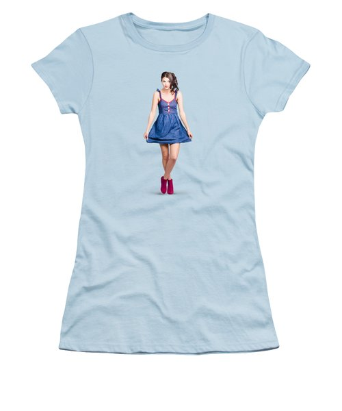 Lovable Eighties Female Pin-up In Denim Dress Women's T-Shirt (Junior Cut) by Jorgo Photography - Wall Art Gallery