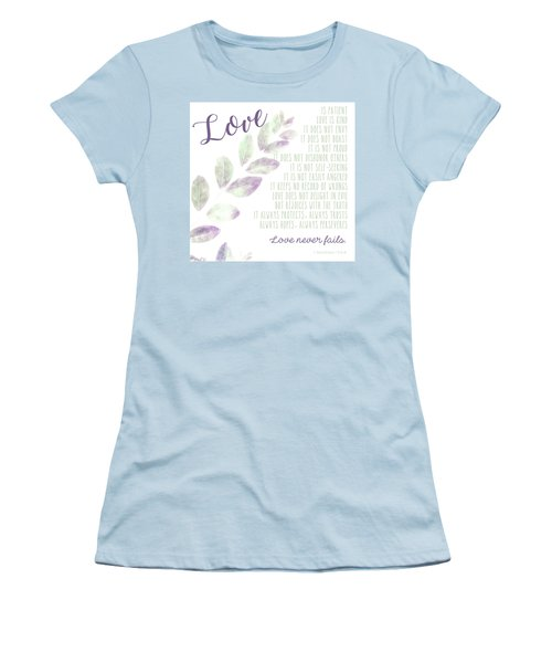 Women's T-Shirt (Athletic Fit) featuring the photograph Love Never Fails by Andrea Anderegg