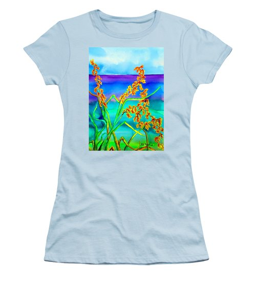 Women's T-Shirt (Junior Cut) featuring the painting Luminous Oats by Lil Taylor