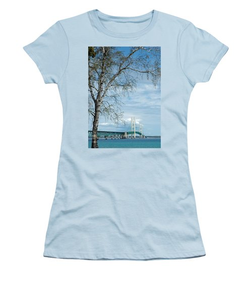 Mackinac Bridge Birch Women's T-Shirt (Junior Cut) by LeeAnn McLaneGoetz McLaneGoetzStudioLLCcom