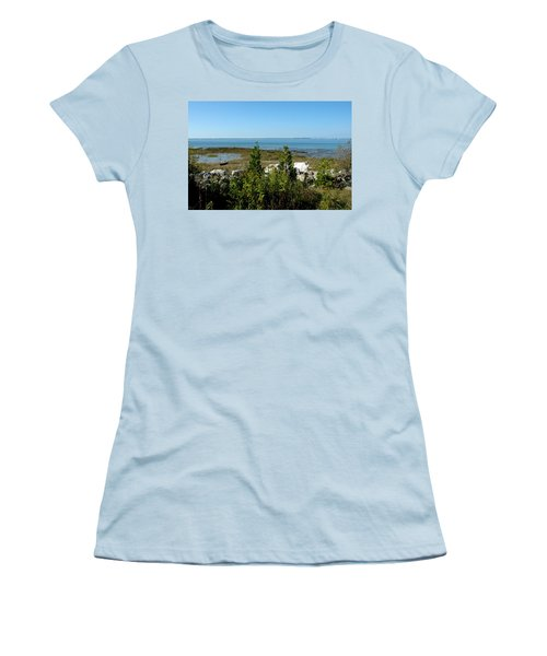 Women's T-Shirt (Junior Cut) featuring the photograph Mackinac Island View Of Bridge by LeeAnn McLaneGoetz McLaneGoetzStudioLLCcom