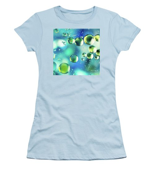 Women's T-Shirt (Junior Cut) featuring the photograph Macro Water Droplets Aquamarine Soft Green Citron And Blue by Sharon Mau