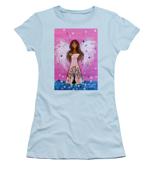 Women's T-Shirt (Athletic Fit) featuring the painting Pink Angel Of Life by Pristine Cartera Turkus