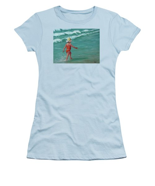 Women's T-Shirt (Junior Cut) featuring the painting Making A Splash   by Susan DeLain