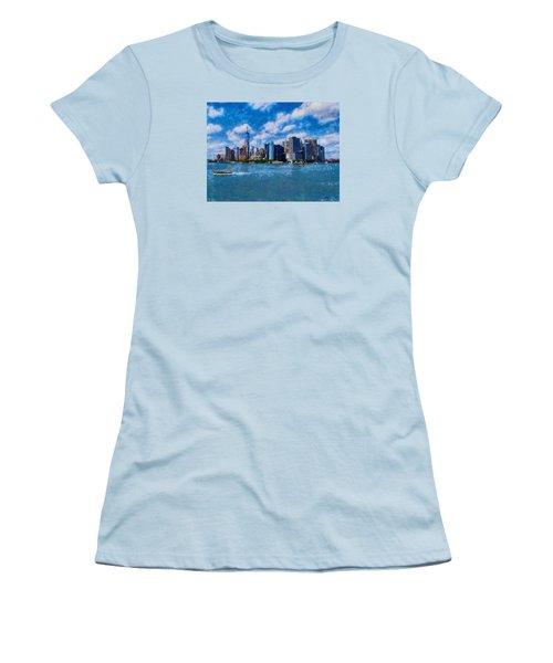 Women's T-Shirt (Junior Cut) featuring the digital art Manhattan Skyline by Kai Saarto