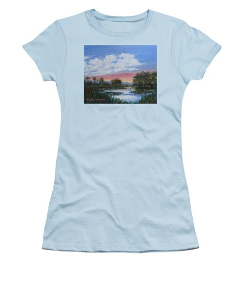 Women's T-Shirt (Junior Cut) featuring the painting Marsh Reflections by Kathleen McDermott