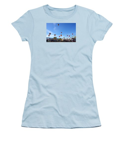 Women's T-Shirt (Junior Cut) featuring the photograph Mass Ascension Taos Balloon Festival by Brenda Pressnall