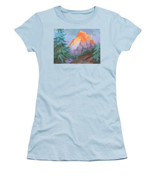Women's T-Shirt (Junior Cut) featuring the painting Matterhorn Sunrise by Diane McClary