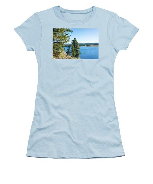 Meadowlark Lake And Trees Women's T-Shirt (Junior Cut) by Jess Kraft