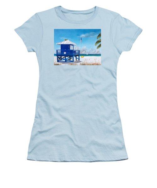 Meet At Blue Lifeguard Women's T-Shirt (Junior Cut) by Lloyd Dobson