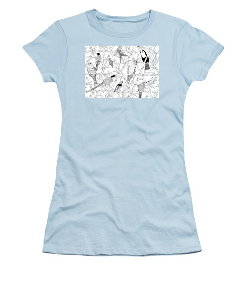 Menagerie Black And White Women's T-Shirt (Junior Cut) by Jacqueline Colley