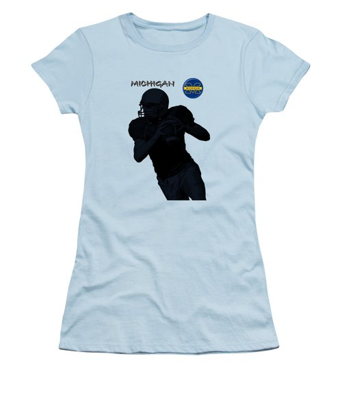 Women's T-Shirt (Junior Cut) featuring the digital art Michigan Football  by David Dehner