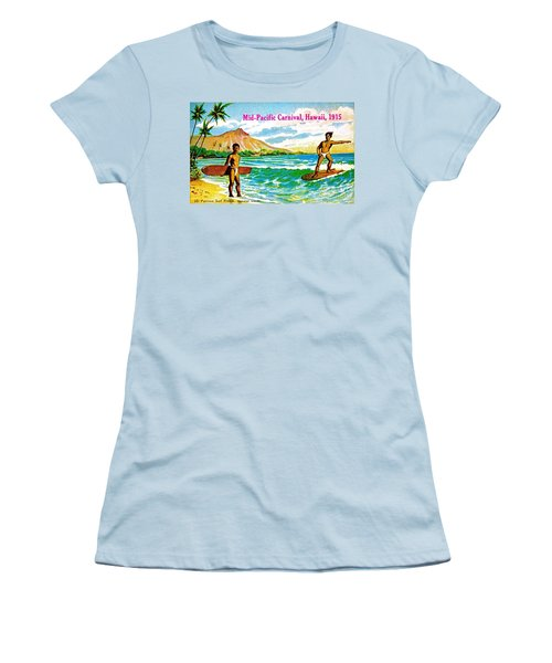 Mid Pacific Carnival Hawaii Surfing 1915 Women's T-Shirt (Junior Cut) by Peter Gumaer Ogden