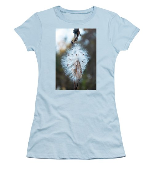 Women's T-Shirt (Junior Cut) featuring the digital art Milkweed And Its Seeds by Chris Flees
