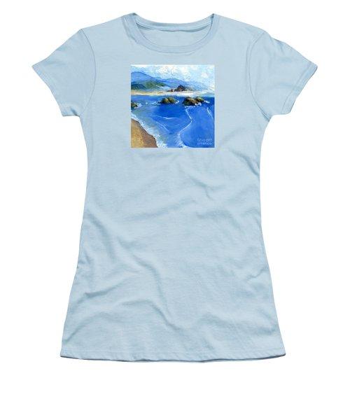 Misty Bodega Bay Women's T-Shirt (Junior Cut) by Randy Sprout