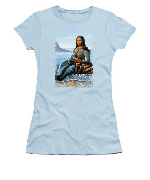 Monalisa Mermaid Women's T-Shirt (Junior Cut) by Anthony Mwangi