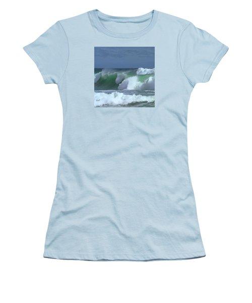 Women's T-Shirt (Junior Cut) featuring the digital art Monterey Surf by Walter Chamberlain