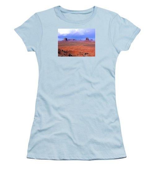 Women's T-Shirt (Junior Cut) featuring the photograph Monument Valley Panorama Landscape by Merton Allen
