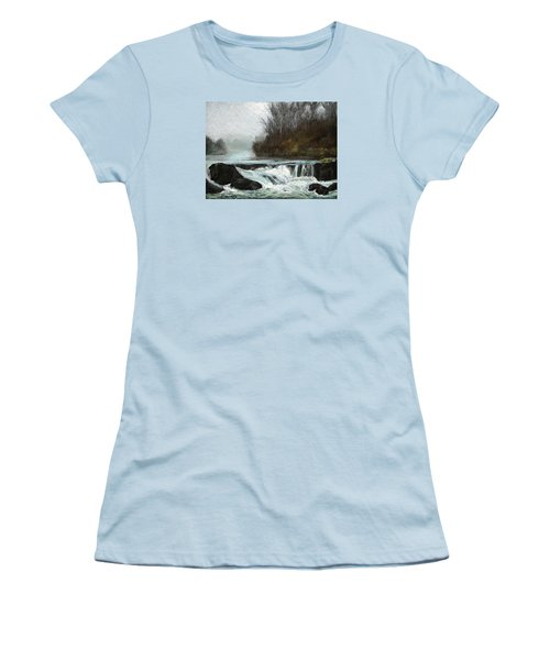 Women's T-Shirt (Junior Cut) featuring the painting Moonlit Serenity by Marna Edwards Flavell