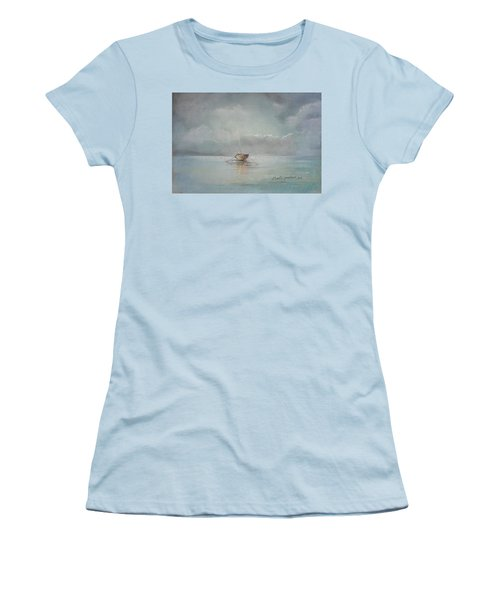 Moored Boat Women's T-Shirt (Junior Cut) by Marty Garland