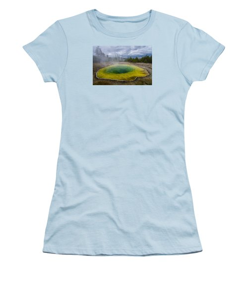 Women's T-Shirt (Junior Cut) featuring the photograph Morning Glory Pool by Gary Lengyel