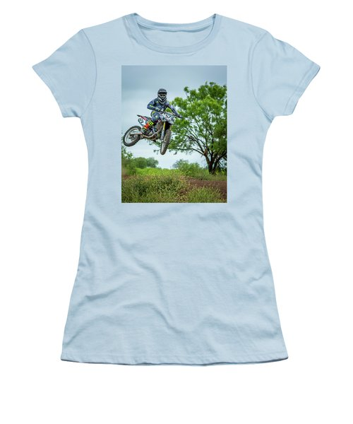Women's T-Shirt (Junior Cut) featuring the photograph Motocross Aerial by David Morefield