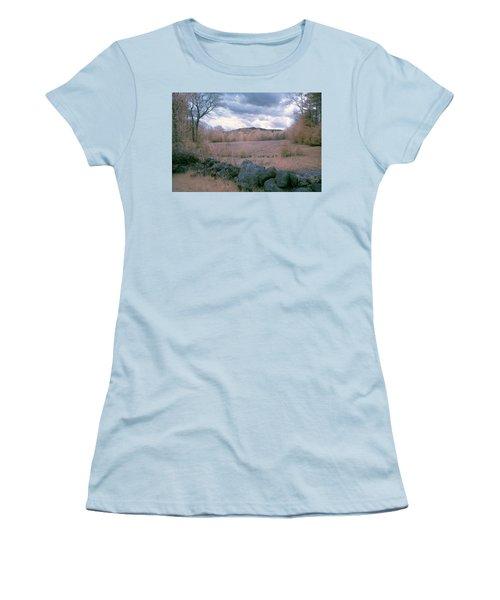Mount Monadnock In Infrared Women's T-Shirt (Junior Cut) by Tom Singleton